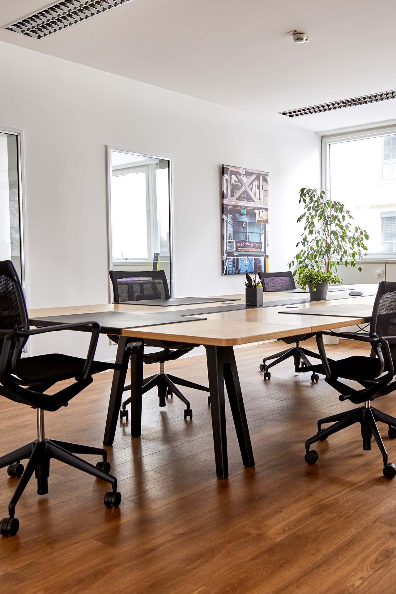Innenansicht eines Großraumbüros für 6 Coworker, die um einen Tisch aus hellem Holz im Zentrum auf Drehstühlen Platz finden. Auf dem Tisch befinden sich Unterlagen, eine Büropflanze und ein Becher mit Kugelschreibern. An der Wand hängen zwei große Spiegel, die das einfallende Tageslicht reflektieren.