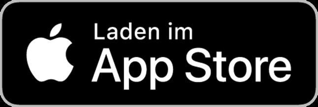 Der Apple App Store Button. Links der angebissene Apfel, rechts der Text
